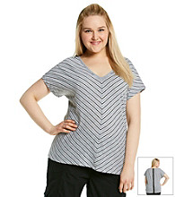 Calvin Klein Performance Plus Size Zip Back Striped Tee