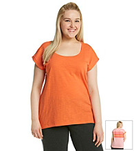 Calvin Klein Performance Plus Size Solid Front Back Stripe Scoopneck Tee