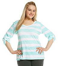 Calvin Klein Performance Plus Size Chalk Stripe Roll Sleeve V-Neck Top