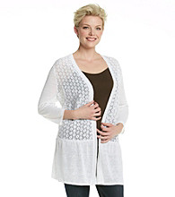 Fever™ Plus Size Open-Front Lace Cardigan