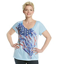 Oneworld® Plus Size Henley Flag Tee