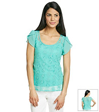 AGB® Petites' Two-Piece Layered Eyelet Top