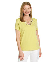 Alfred Dunner® Petites' Sahara Desert Embroidered Top