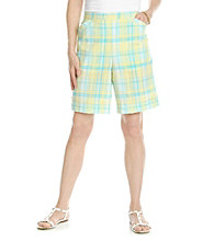 Alfred Dunner Petites' Walking On Sunshine Plaid Shorts