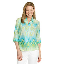 Alfred Dunner® Petites' Walking On Sunshine Ikat Print Shirt