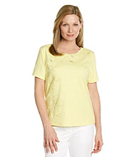 Alfred Dunner® Petites' Walking On Sunshine Embroidered Top