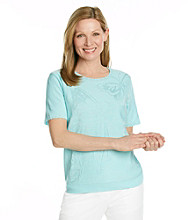 Alfred Dunner® Petites' Walking On Sunshine Embossed Butterfly Tee