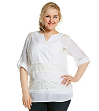 AGB® Plus Size Lace Panel Top