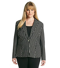 Notations® Plus Size Striped Jacket
