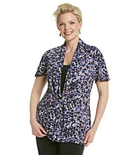 Notations® Plus Size Embellished Print Top
