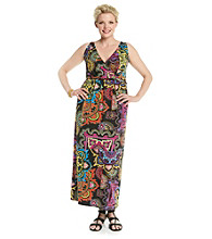 Notations® Plus Size Twist-Front Maxi Dress