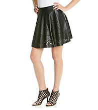 Blu Pepper™ Laser Cut Faux Leather Skirt