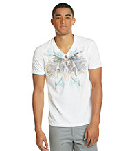 Guess Men's Optic White Short Sleeve Stream Jersey V-Neck
