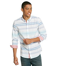 Guess Men's Optic White Long Sleeve Sandborn Plaid Woven