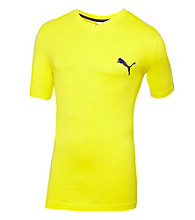 PUMA® Men's Blazing Yellow V-Neck Iconic Tee