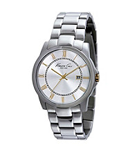 Kenneth Cole New York® William Collection Men's Silvertone/Gunmetal Stainless Steel Bracelet Watch
