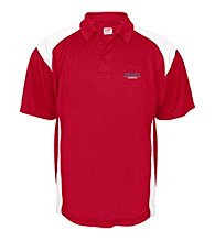 J. America® Men's Red University of Nebraska Mesh with Interlock Panel Performance Polo
