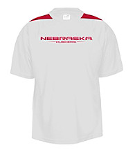 J. America® Men's White University of Nebraska Mesh Performance Tee with Sleeve Panels