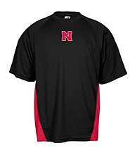 J. America® Men's Black University of Nebraska Mesh Panel Performance Tee