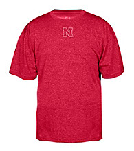 J. America® Men's Red University of Nebraska Heathered Performance Tee