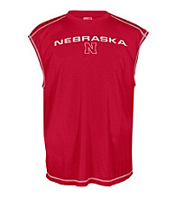J. America® Men's Red University of Nebraska Sleeveless Mesh Performance Tee