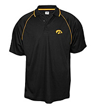 J. America® Men's Black University of Iowa Contrast Mesh Performance Polo