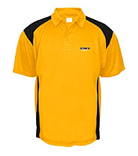 J. America® Men's Gold University of Iowa Mesh with Interlock Panel Performance Polo