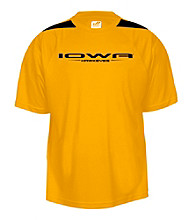 J. America® Men's Gold University of Iowa Mesh Performance Tee with Sleeve Panel