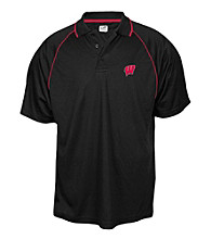J. America® Men's Black University of Wisconsin-Madison Contrast Mesh Performance Polo