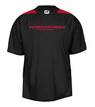 J. America® Men's Black University of Wisconsin-Madison Mesh Performance Tee with Sleeve Panels