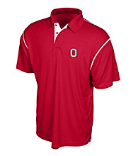J. America® Men's Red Ohio State Contrast Stitch Performance Polo