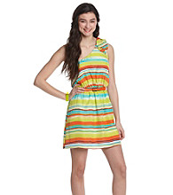 Trixxi® Juniors' One Shoulder Striped Dress