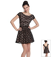 Bee Darlin' Juniors' Black Blush Lace Party Dress