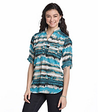 Sequin Hearts® Juniors' Dip Dye Stripe Shirt
