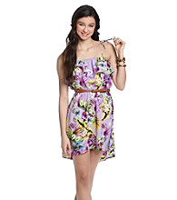 Sequin Hearts® Juniors' Belted Floral Dress
