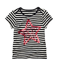 OshKosh B'Gosh® Girls' 4-6X Navy/White Striped Star Tee