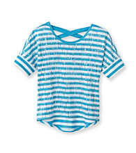 Beautees Girls' 7-16 Striped Sequin High-Low Dolman Tee