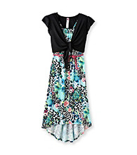 Beautees Girls' 7-16 Turquoise Floral Animal Hi-Low Maxi Dress With Shrug
