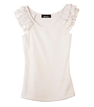 Amy Byer Girls' 7-16 White Ruffle Sleeve Top