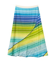 Amy Byer Girls' 7-16 Blue/Green Striped Skirt
