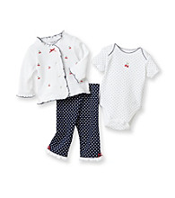Little Me® Baby Girls' White/Navy Cherry Schiffli Take-Me-Home Set