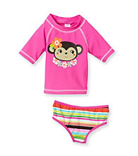Carter's® Baby Girls' Pink 2-pc. Monkey Rashguard Swim Set