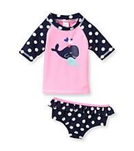 Carter's® Baby Girls' Navy 2-pc. Whale Rashguard Swim Set