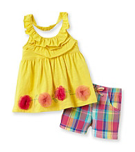 Nannette® Baby Girls' Yellow Halter and Shorts Set