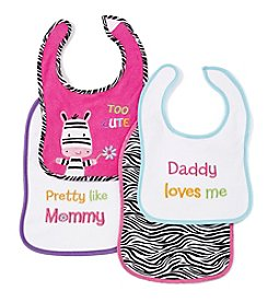 Cuddle Bear® Baby Girls' 4-pk. Pink/Black Zebra Bibs