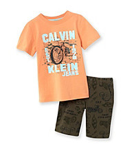 Calvin Klein Jeans® Boys' 2T-7 Orange/Green 2-pc. Motorcycle Shorts Set