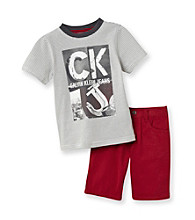 Calvin Klein Jeans® Boys' 2T-7 Grey/Red 2-pc. Ringer Tee and Shorts Set