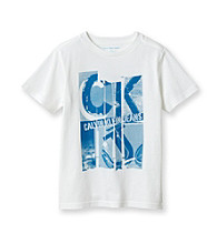 Calvin Klein Jeans® Boys' 8-20 White Short Sleeve Newsprint Tee