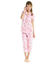 KN Karen Neuburger Knit Girlfriend Capri Pajama Set - Rose Novelty