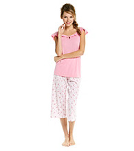 KN Karen Neuburger Knit Combo Capri Pajama Set - Rose Scroll
